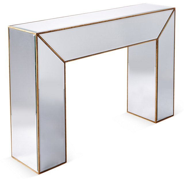 Charlotte Mirrored Console Table, Gold