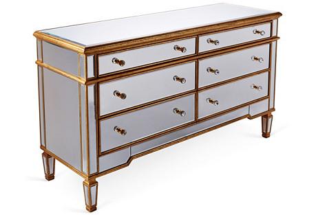 Mathilda Mirrored Dresser, Gold