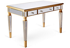 Eve Mirrored Desk, Gold