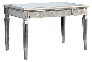 Eve Antiqued Mirrored Desk, Silver