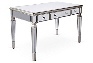 Eve Mirrored Desk, Silver