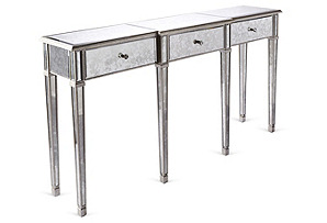 Asher Antiqued Mirrored Console, Silver
