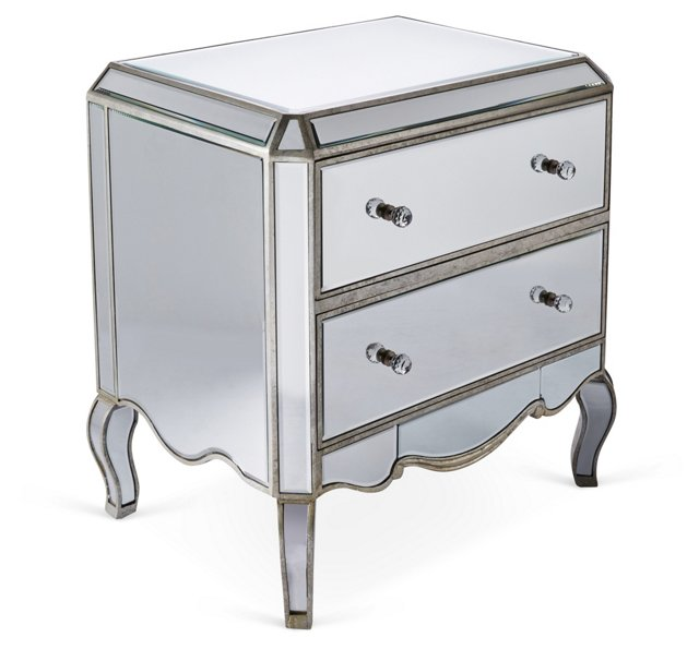 Abigail Mirrored Nightstand, Silver