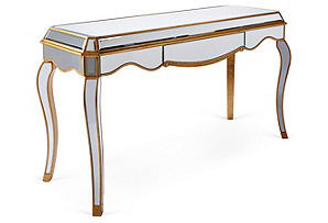 Avery Mirrored Desk, Gold