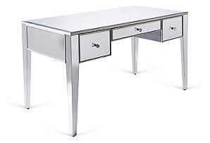 Cooke Mirrored Desk, Silver