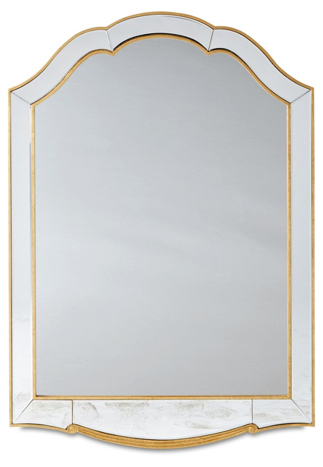 Brabant Oversize Mirror, Gold/Clear