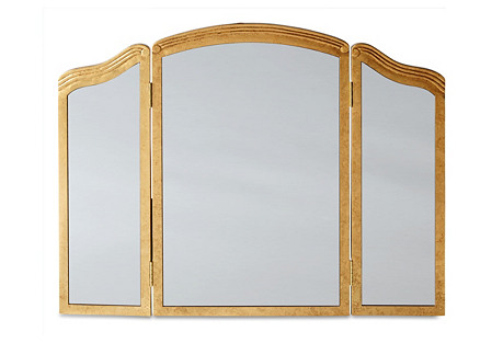 Trifold Wall Mirror, Gold