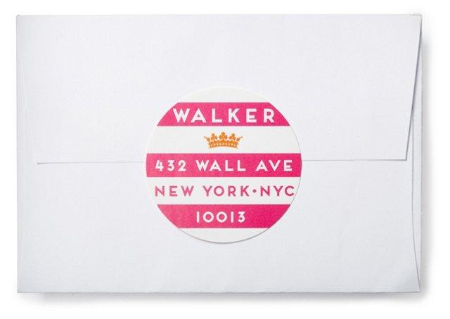 S/80 Stripe Address Labels, Pink/White