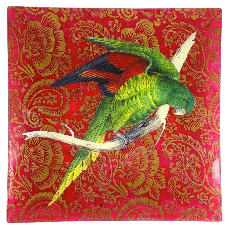 "10"" Green Parrot Decoupage Tray"