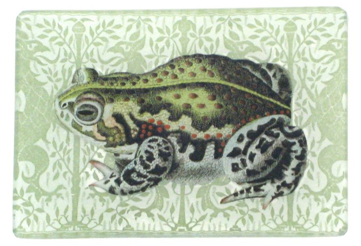 "4x5"" Frog on Green Dragon Decoupage Tray"