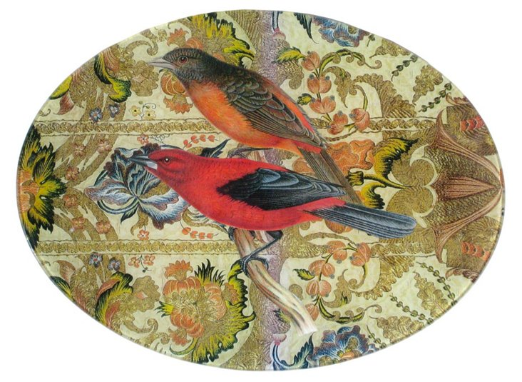 9x12 Red & Orange Finches Decoupage Tray