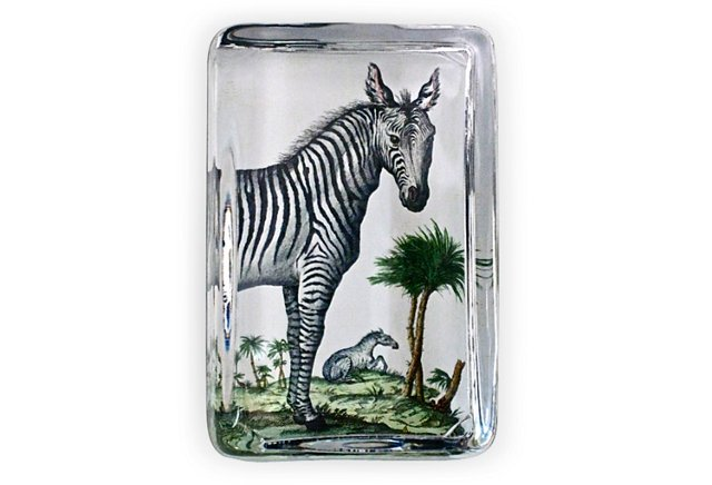 Large Crystal Paperweight, Zebra