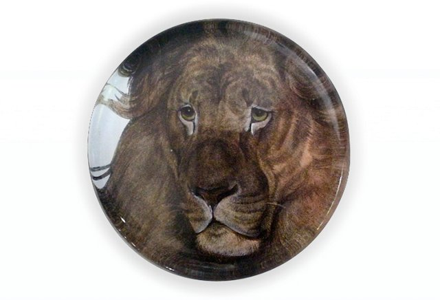 Crystal Paperweight, Lion head