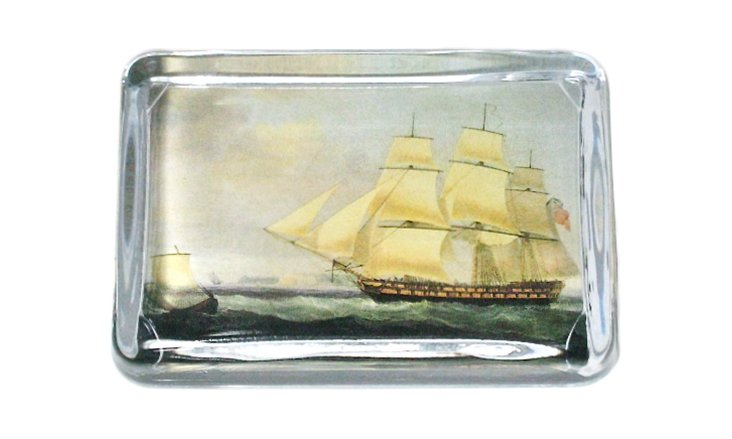 Large Crystal Paperweight, Ship