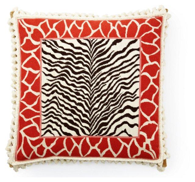 Zebra 20x20 Pillow, Orange/Black