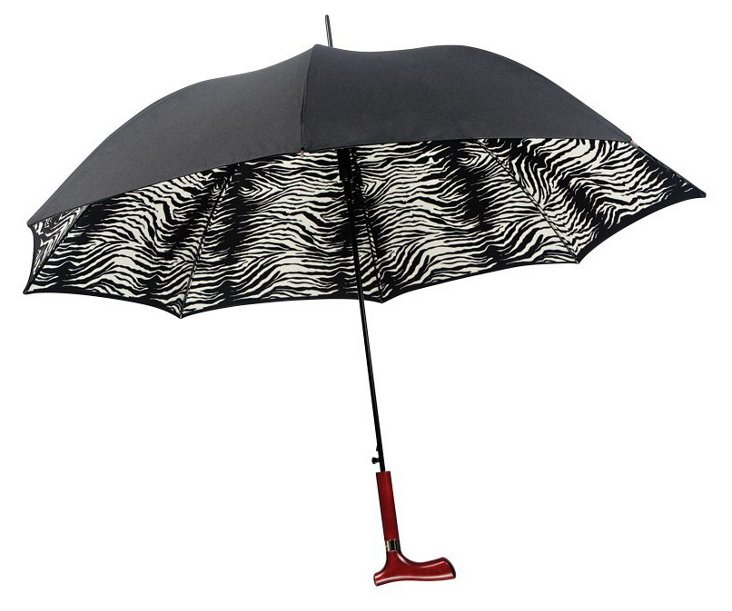 Dual-Sided Canopy Umbrella, Black/Zebra