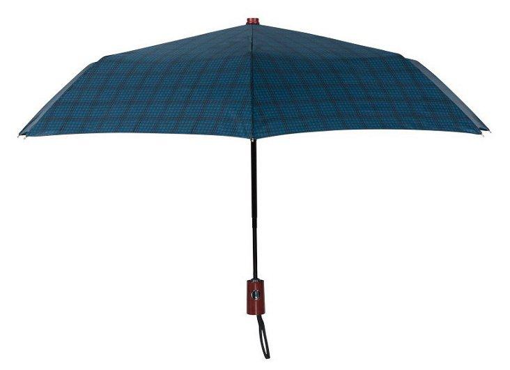 Compact Umbrella, Blue Check