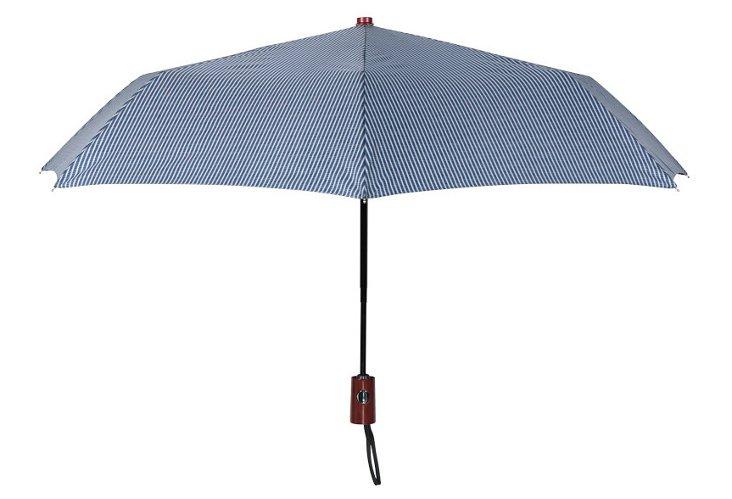 Compact Striped Umbrella, Gray/Blue