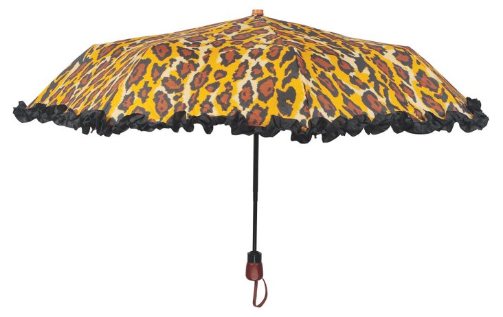 Leopard Ruffle Umbrella, Tan/Black