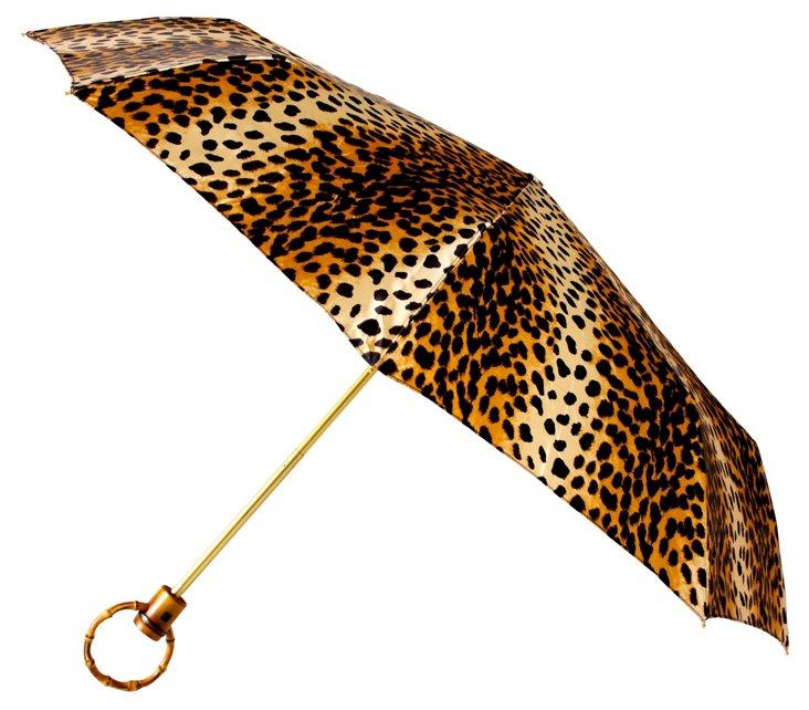 Cheetah Print Panda Umbrella, Tan/Black