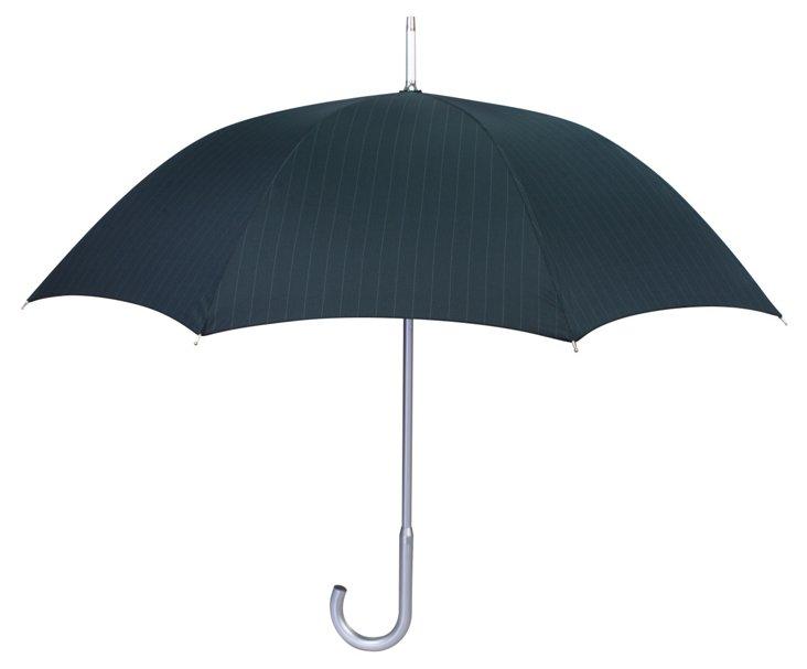 Pinstripe Stick Umbrella, Black/Gray