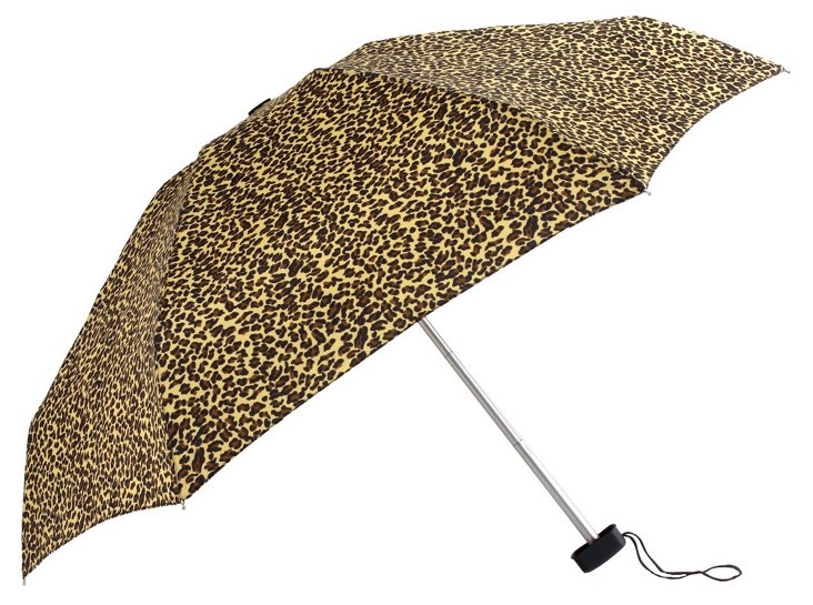 Compact Cheetah Umbrella, Tan/Black