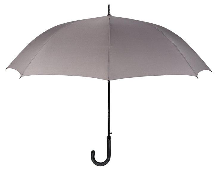 Leather Handle Cane Umbrella, Gray