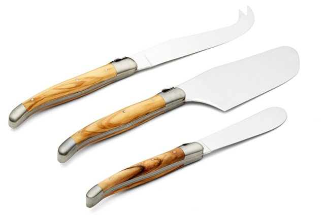 3-Pc Cheese Set, Olive Wood