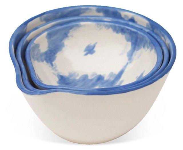 S/3 Assorted Ikat Bowls, Cornflower Blue