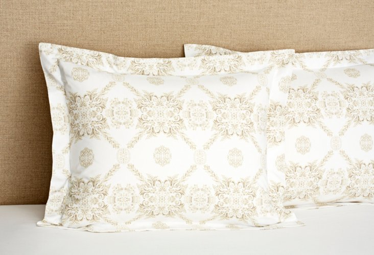 S/2 Organic Medallion Shams, White/Beige