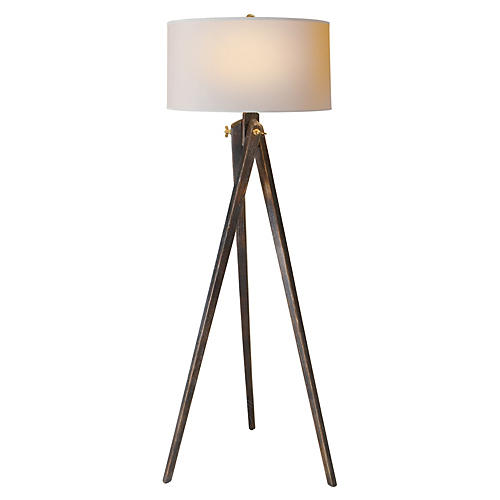 York Tripod Floor Lamp, Wood