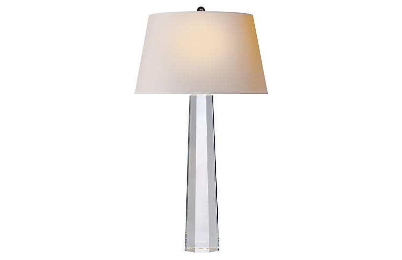 Octagonal Spire Large Table Lamp, Clear