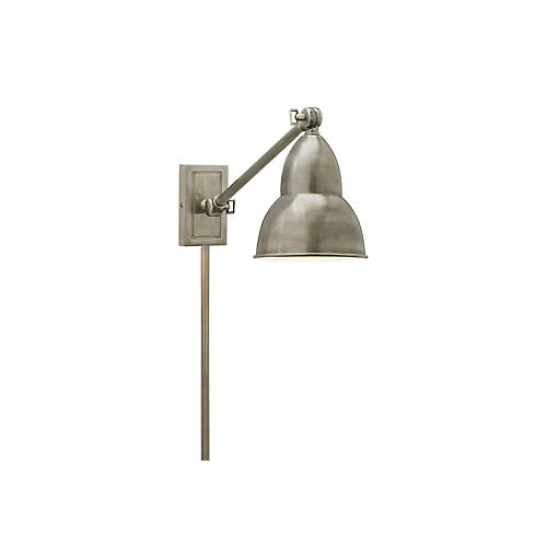 1-Light French Library Wall Lamp, Nickel