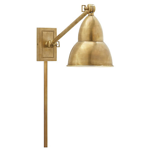 1-Light French Library Wall Lamp, Brass