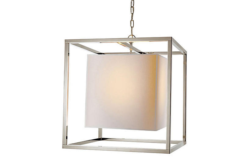 Caged Lantern, Polished Nickel