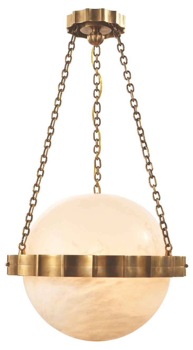 Fluted-Band Globe Pendant