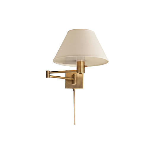 Classic Swing-Arm Sconce, Antiqued Brass
