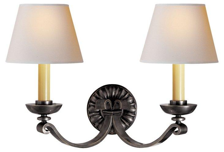 Palma Double Sconce, Bronze