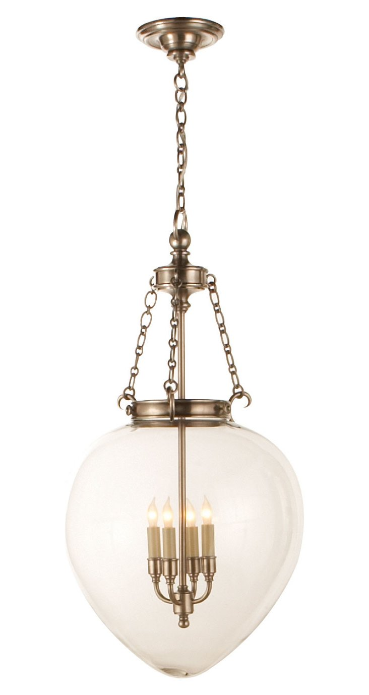 Large Amphora Bell Jar Pendant, Nickel
