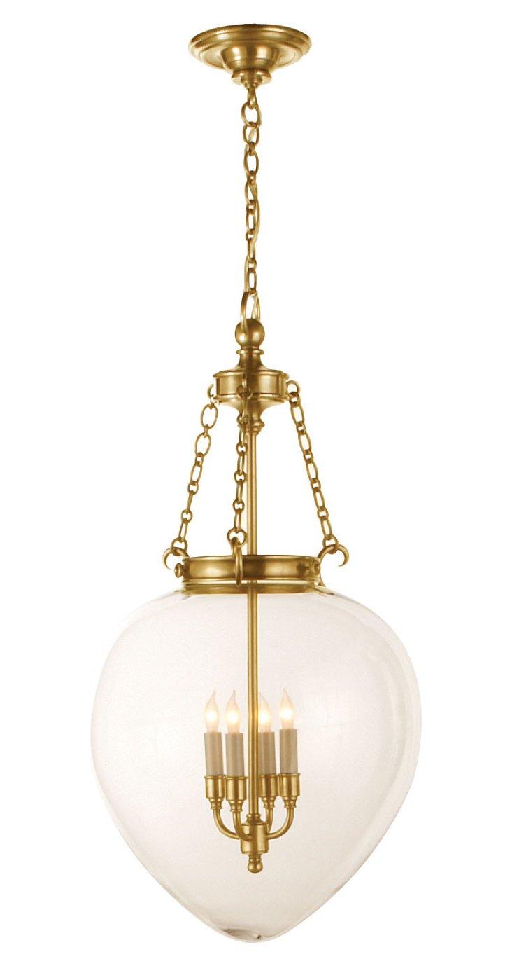 Large Amphora Bell Jar Pendant, Brass