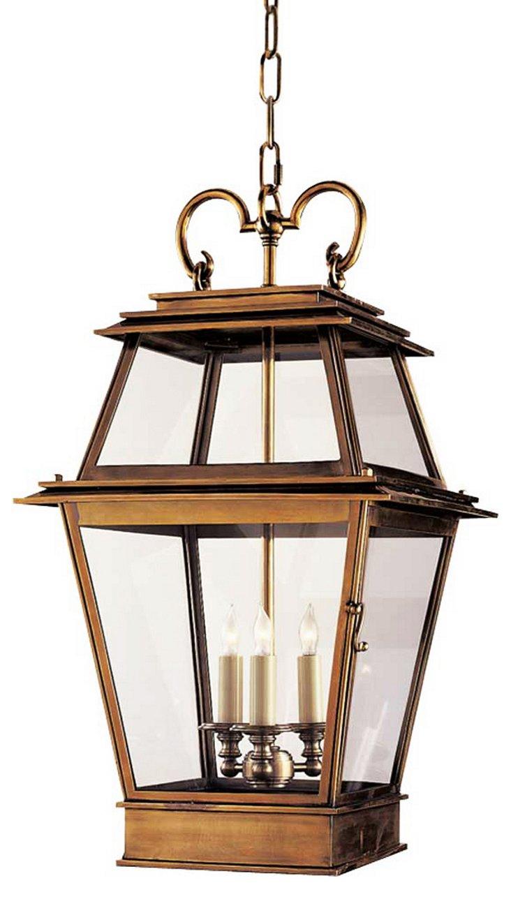 """French 27"""" Hanging Lantern, Brass"""