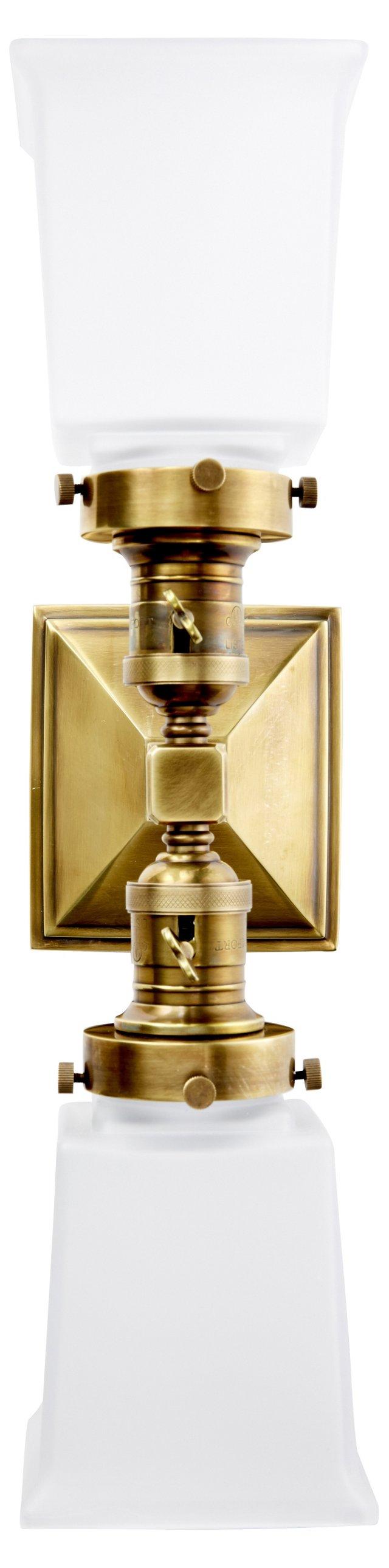 Boston Square Sconce, Brass