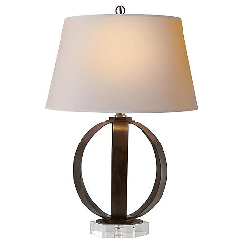 Metal-Banded Table Lamp, Aged Iron