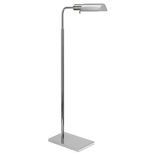 Library Adjustable Floor Lamp, Nickel