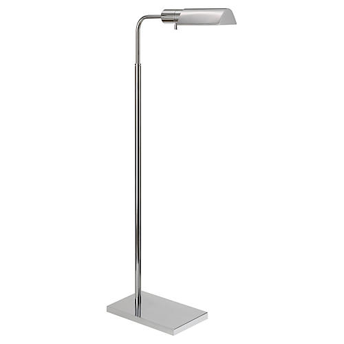 Library Adjustable Floor Lamp, Nickel
