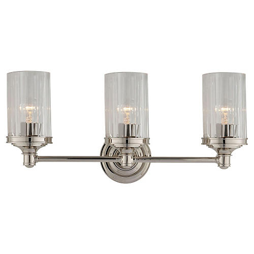 Ava 3-Light Sconce, Polished Nickel