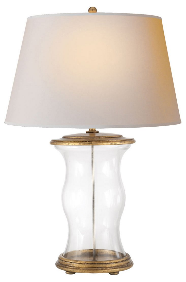 Hurricane Table Lamp, Clear Glass
