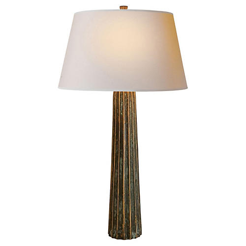 Large Fluted Spire Table Lamp, Bronze