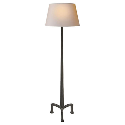 Strie Floor Lamp, Aged Iron