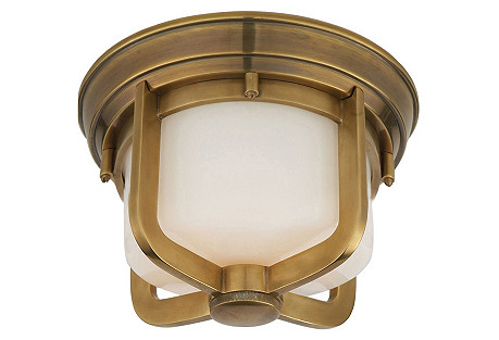 Short Milton Flush Mount, Antiqued Brass